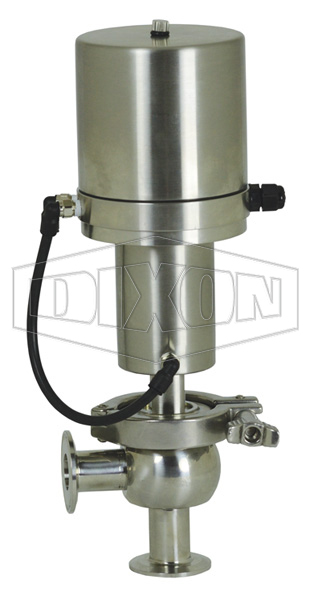 SV-Series Single Seat Hygienic Valve L Body Pneumatic Actuator Spring Return Air to Raise, Basic Control Top