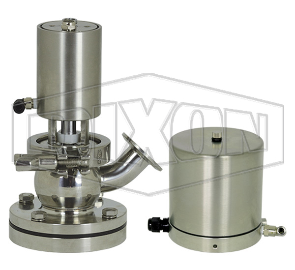 SV-Series Single Seat Hygienic Valve Tank Body Up to Open Pneumatic Actuator Spring Return Air to Raise, Basic Control Top