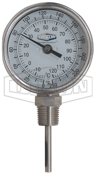 """Bi-Metal Bottom Connected 90° Angle 3"""" Face Thermometer"""