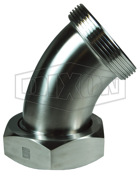 Threaded Bevel Seat x Plain Bevel Seat with Hex Nut 45° Elbow
