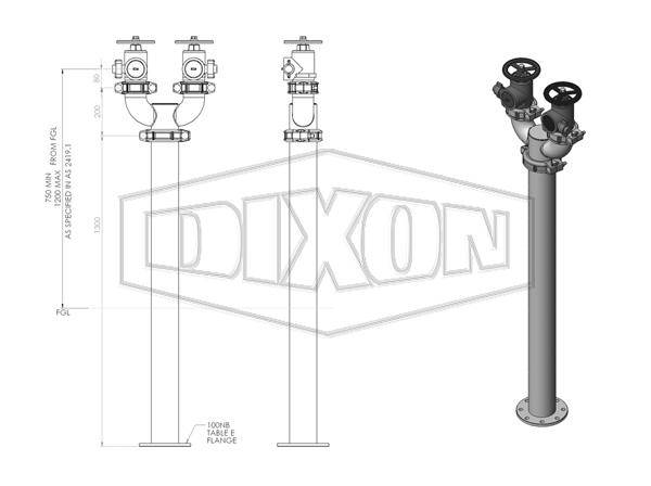 WA Twin Hydrant Riser