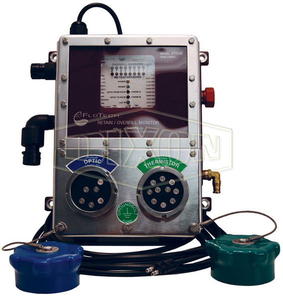 fuel tanker overfill detection flotech checkmate overfill retain plug n play system monitors with integrated duel sockets
