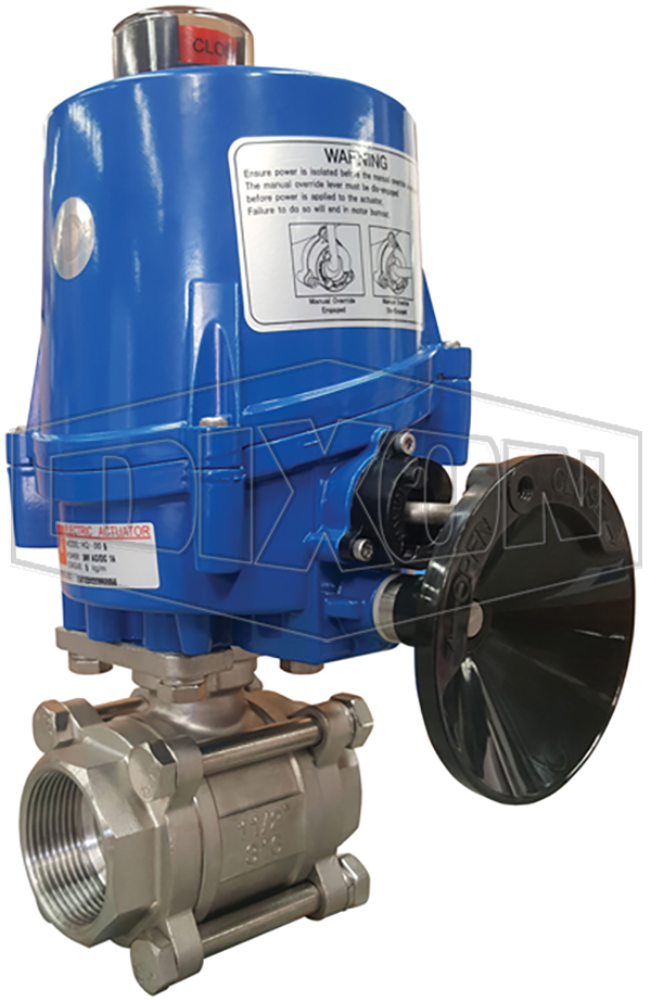 Electrically Actuated 3 Piece Locking Stainless Steel Ball Valve BSP