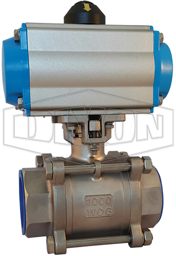 Pneumatically Actuated 3 Piece Locking Stainless Steel Ball Valve BSP